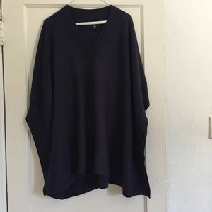 Long Navy Poncho looking sweater from H&M